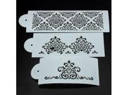 3Pc Lace Flower Cake Cookie Fondant Side Baking Stencil Wedding Decorating Tool 9SIAH367S41743