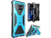 Samsung Galaxy S7 Edge Case Heavy Duty Holster Cover Belt Clip Carbon Fiber Blue