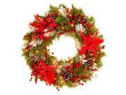 """24"""""""" Decorative Collection Tartan Plaid Wreath with Cones, Red Berries, Poinsettia"""" 9SIV0036KZ3277"""