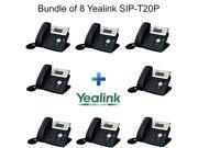 Yealink SIP-T20P, Bundle of 8 Enterprise IP Phone with 2 Lines 2xLAN PoE LCD