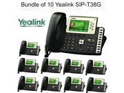 Yealink SIP-T38G Bundle of 10 Dual Gigabit IP Phone 6-Line 4.3 Color LCD PoE