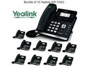 Yealink SIP-T42G Bundle of 10 Dual Gigabit IP Phone 12-Line HD voice PoE LCD XML
