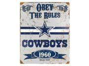 Party Animal Cowboys Vintage Metal Sign 1 Each Obey The Rules Print Message 11.5 Width x 14.5 Height Rectangular Shape Heavy Duty Embossed Letterin