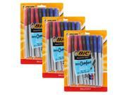 Bic Round Stic Grip Xtra Comfort Stick Ball Point Pens, 1.2mm, Medium Point, Assorted Colors, 3 Packs of 26