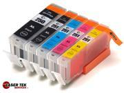Laser Tek Services® 5 Pack of Canon compatible PGI-250 and CLI-251 inks. (1BK,1k,1C,1M,1Y)