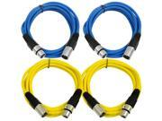SEISMIC AUDIO - SAXLX-6 - 4 Pack of 6' XLR Male to XLR Female Patch Cables - Balanced - 6 Foot Patch Cord - Blue and Yellow