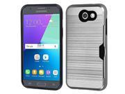 For Samsung Galaxy Express Prime 2/J3 Silver/Black Brushed Hybrid Protector Case
