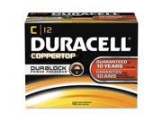 Duracell MN140012 CopperTop Alkaline Batteries with Duralock Power Preserve Technology, C, 12-Pack