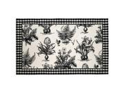 Image of 123 Creations C700.4 rd Black and White Botanical Hooked Rug - 100 Percent Wool 120 Knot