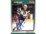 Autograph Warehouse 224077 Steve Leach Autographed Hockey Card - Boston Bruins 1991 Score - No. 26T 9SIV06W69U1327