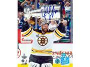 Autograph Warehouse 53618 Tim Thomas Autographed 8 x 10 Photo Boston Bruins 2011 Stanley Cup Champion - Playoff Mvp Holding The Stanley Cup 9SIV06W6A14092