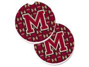 Carolines Treasures CJ1078-MCARC Letter M Football Garnet & Gold Set of 2 Cup Holder Car Coaster 9SIV06W69W7525