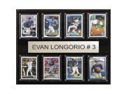 CandICollectables 1215LONGORIA8C MLB 12 x 15 in. Evan Longoria Tampa Bay Rays 8-Card Plaque 9SIV06W69Z6169