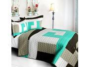 ONITIVA-QTS01239-23 Tetris - B - Vermicelli-Quilted Patchwork Geometric Quilt Set  Full & Queen Size - Gray 9SIV06W6A83091