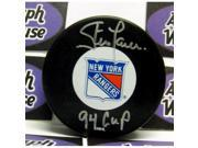 Steve Larmer autographed Hockey Puck (New York Rangers 1994 Stanley Cup Champion) inscribed 94 Cup 9SIV06W6A90386