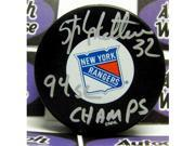 Stephane Matteau autographed Hockey Puck (New York Rangers 1994 Stanley Cup Champion) inscribed 94 SC Champs 9SIV06W6A90215
