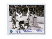 Bobby Clarke Bill Barber & Reggie Leach Autographed 1976 Canada Cup 8x10 Photo 9SIV06W6A12169