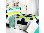 ONITIVA-QTS01240-23 Tetris - C  Vermicelli-Quilted Patchwork Geometric Quilt Set  Full & Queen Size - White 9SIV06W6A82433