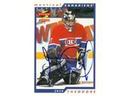 Autograph Warehouse 63624 Jose Theodore Autographed Hockey Card Montreal Canadiens 1996 Score No. 267 9SIV06W6A63375