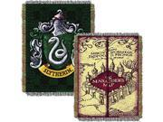 Northwest 2HPT051000003RET 48 x 6 in. Harry Potter Marauders Map with Slytherin Shield Woven Tapestry Throw