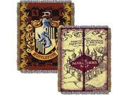 Northwest 2HPT051000004RET 48 x 6 in. Harry Potter Marauders Map with Hufflepuff Crest Woven Tapestry Throw