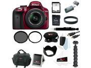 Nikon D3300 DSLR Camera with 18-55mm Lens (Red) with 64GB Deluxe Accessory Kit