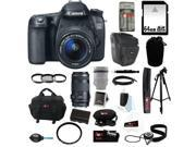 Canon 70d EOS 70D SLR Digital Camera with 18-55mm STM f/3.5-5.6 Lens + Canon 70-300mm f/4.0-5.6 EF IS USM Autofocus Zoom Lens + 64GB Memory Card + Universal Car