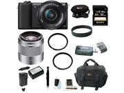 Sony a5100 24MP Interchangeable Lens Camera with 16 50mm Power Zoom Lens Black and Sony SEL50F18 50mm F1.8 Lens plus 32GB Deluxe Accessory Kit