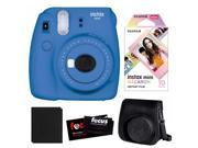 Fujifilm Instax Mini 9 (Cobalt Blue) w/ Macaron Film & Groovy Case Bundle