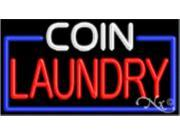 "Image of 20""x37"" Coin Laundry Neon Sign with Border - Outdoor"