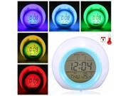 7 LED Colour Changing Digital LCD Desk Alarm Clock w Thermometer Calendar Snooze