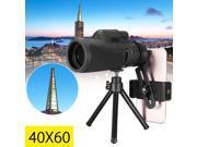 Monocular 40X60 Zoom Optical HD Lens Telescope + Tripod + Clip For Mobile Phone 9SIV0E26CZ0318