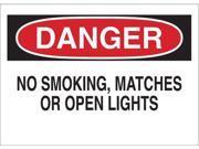 BRADY 25081 Danger No Smoking Sign, 10 x 14In, ENG