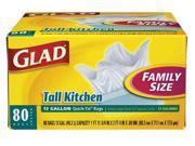 Glad Trash Bags, 13 gal., 0.69 mil, PK80, 60034