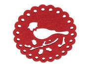 Unique Bargains Hollow Out Bird Shape Felt Foam Heat Insulation Pad Cup Mat Coaster Red 9SIA27C4RE1669