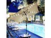 10x6.5' Patio Umbrella w/ Solar Powered LED Light Tilt Garden Market Beach 9SIV0YY5DK0700