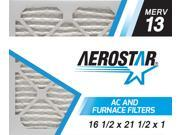 16 1/2x21 1/2x1 AC and Furnace Air Filter by Aerostar - MERV 13, Box of 12 9SIV10J5UD1369