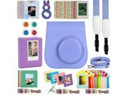 Katia Instant Camera Accessories Bundles Set for Fujifilm Instax Mini 8/8+ with Camera Case Purple/ Photo Albums/ Selfie Len/ Wall Hang Frame/ Border Stickers/