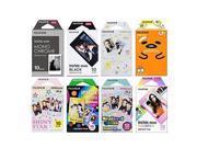 Fujifilm Instax Mini Instant Film 8-PACK SET , Monochrome , Gudetama , Kitty , Black , Shiny Star , Rainbow , Stained Glass , Macaron