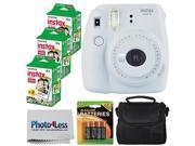 Fujifilm instax mini 9 Instant Film Camera (Smokey White) + Fujifilm Instax Mini Twin Pack Instant Film (60 Shots) + Compact Camera Case + 4 AA Batteries + Clea