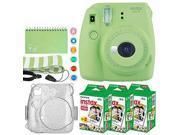 Fujifilm Instax Mini 9 Instant Camera (Lime Green) + Fujifilm Instax Mini Twin Pack Instant Film (60 Exposures) + Glitter Hard Case + Scrapbook Album + Colored