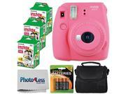 Fujifilm instax mini 9 Instant Film Camera (Flamingo Pink) - Fujifilm Instax Mini Twin Pack Instant Film (60 Shots) + Compact Camera Case + AA Batteries + Clean
