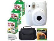 Fujifilm Instax Mini 8 Instant Film Camera (White) With Fujifilm Instax Mini 6 Pack Instant Film (60 Shots) + Compact Bag Case + Batteries Top Kit - Internation