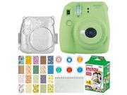 Fujifilm Instax Mini 9 Instant Camera (Lime Green) + Fujifilm Instax Mini Twin Pack Instant Film (20 Exposures) + Glitter Hard Case + Colored Filters + Album (W