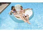 """66"""""""" Blue and White Inflatable Aqua Cradle 2-Person Swimming Pool Float"""" 9SIA09A7206988"""