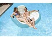 "66"""" Blue and White Inflatable Aqua Cradle 2-Person Swimming Pool Float"" 9SIV1JB6XG7719"