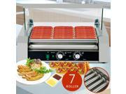 Roller Commercial 18 Hotdog Hot Dog 7 Roller Grill Cooker Machine W/Cover 9SIAH9B7HJ5799