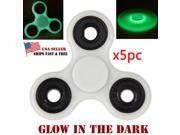 5X Lot Glowing Hand Spinner Tri Fidget metal Ball Desk Focus Toy For Kids/Adults