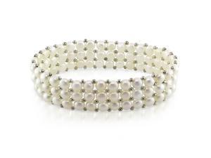 "7"" Triple-Row 5 - 5.5mm FW White Button Pearl Elastic Bracelet with Brass Beads"