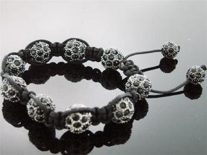 Big Black Bead CZ  Bracelet 12MM With Disco Ball